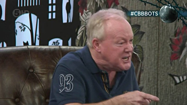 ****Ruckas Videograbs****  (01322) 861777 *IMPORTANT* Please credit Channel 5 for this picture. 03/02/15 Celebrity Big Brother  DAY 28 SEEN HERE: Keith Chegwin loses his temper with Katie Hopkins after she accuses him of not being genuine about being upset after Cami's eviction because he nominated her and the pair argue, late last night. Grabs from overnight in the CBB house Office  (UK)  : 01322 861777 Mobile (UK)  : 07742 164 106 **IMPORTANT - PLEASE READ** The video grabs supplied by Ruckas Pictures always remain the copyright of the programme makers, we provide a service to purely capture and supply the images to the client, securing the copyright of the images will always remain the responsibility of the publisher at all times. Standard terms, conditions & minimum fees apply to our videograbs unless varied by agreement prior to publication.