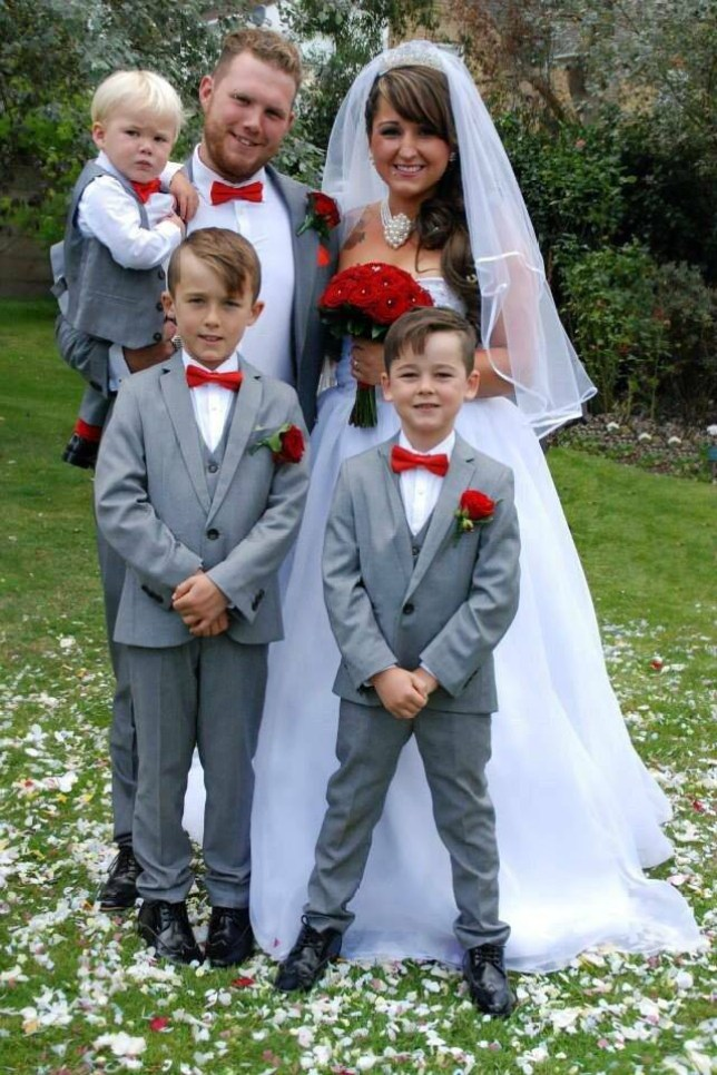 "Collect wedding photo of Jade Miller with her partner Charlie and their children Alfie, 9, Archie , 6, and Harry aged two.  See SWNS story SWPORN; The mum at the centre of the Meatspin whirlwind has slammed the restaurant for failing to properly apologise to exposing her kids to the x-rated footage - which has left them asking some awkward questions. Jade Miller, 27, is fuming that her sons Alfie, nine, and six-year-old Archie were shown the explicit images at such a young age. She said: ""They're too young to know this sort of thing exists. ""They've been asking lots of questions that I just don't know how to answer."