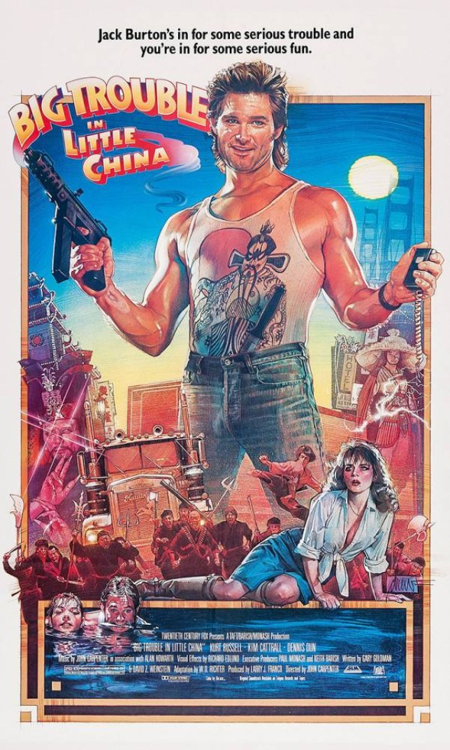 Mandatory Credit: Photo by Courtesy Everett Collection/REX (2991261a) BIG TROUBLE IN LITTLE CHINA, center holding guns: Kurt Russell; center kneeling: Kim Cattrall, 1986, TM and Copyright (c) 20th Century-Fox Film Corp. All Rights Reserved BIG TROUBLE IN LITTLE CHINA, center holding guns: Kurt Russell; center kneeling: Kim Cattrall, 1986, TM and Copyright (c) 20th Century-Fox Film Corp. All Rights Reserved