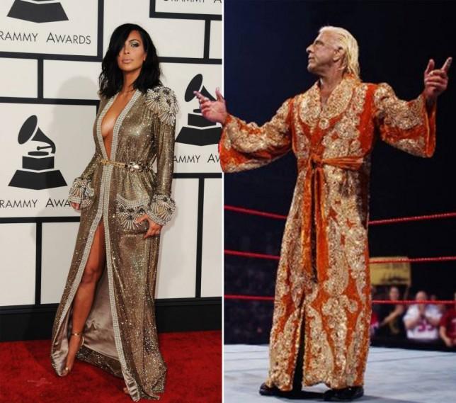 Kim Kardashian takes Grammys style inspiration from wrestler Ric Flair (thank goodness Kimye didn't do matching outfits this time…)