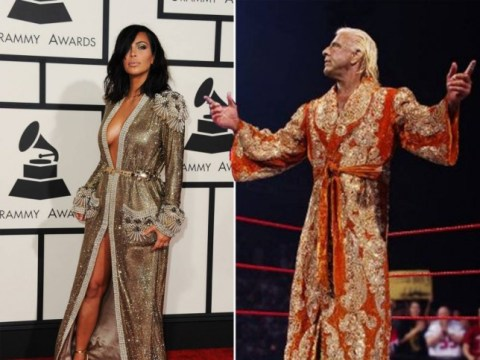Kim Kardashian takes Grammys style inspiration from wrestler Ric Flair (thank goodness Kimye didn't do matching outfits this time…)