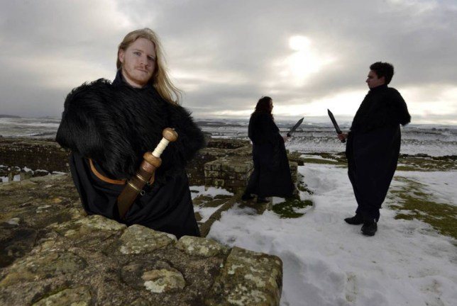 Dated: 09/02/2015   GAME OF THRONES COMES TO LIFE ON HADRIAN'S WALL ..!   English Heritage 'Wall' staff at Housesteads Roman fort on Hadrian's Wall in Northumberland, wearing black Game of Thrones-style cloaks to protect them from the harsh winter weather, as they carry out their daily duties on the World Heritage Site.   The cloaks will also be available to Game Of Thrones super-fans visiting Housesteads - so they can recreate their favourite moments from the show!     SEE COPY BY NORTH NEWS