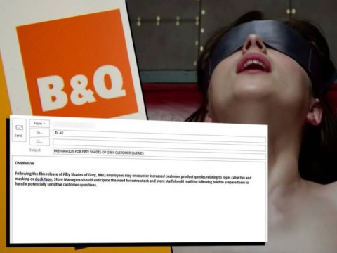 B&Q leaked memo warns staff to expect a rush on rope, cable ties and masking tape due to Fifty Shades of Grey effect