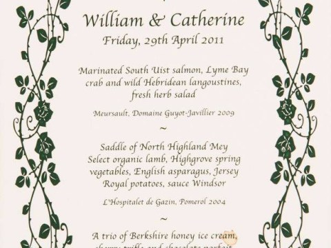 Revealed for the first time: Wedding breakfast menu for Prince William and Kate Middleton