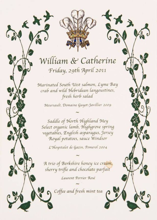 Menu from the wedding breakfast of Prince William and the Duchess of Cambridge Credit: Jon Rowley