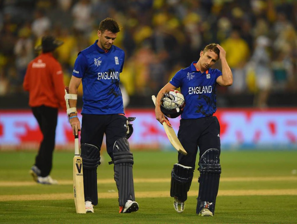 MELBOURNE, AUSTRALIA - FEBRUARY 14:  James Taylor and James Anderson of England leave the field at the end of the 2015 ICC Cricket World Cup match between England and Australia at Melbourne Cricket Ground on February 14, 2015 in Melbourne, Australia.  (Photo by Shaun Botterill/Getty Images)