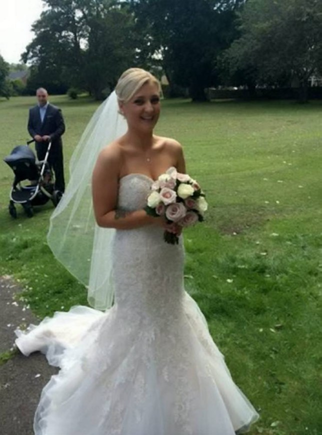Amy Dawson, 22, pictured on her wedding day to Gavin Golighty, 29, who pleaded guilty to assault causing actual bodily harm at Peterlee Magistrates' Court after he subjected Amy to a terrifying attack on their wedding night. See SWNS story SWBRIDE: A bride was beaten by her new husband on their wedding night - because he couldn't take her dress off, a court heard. Amy Dawson married her long term partner, Gavin Golightly, in a fairytale church service in August last year. The newlyweds, who have a child together, then enjoyed a reception at a country hotel where they were due to stay the night. As they returned to their room, Amy, 22, asked the groom to help her take off her dress but Golightly, 29, refused.