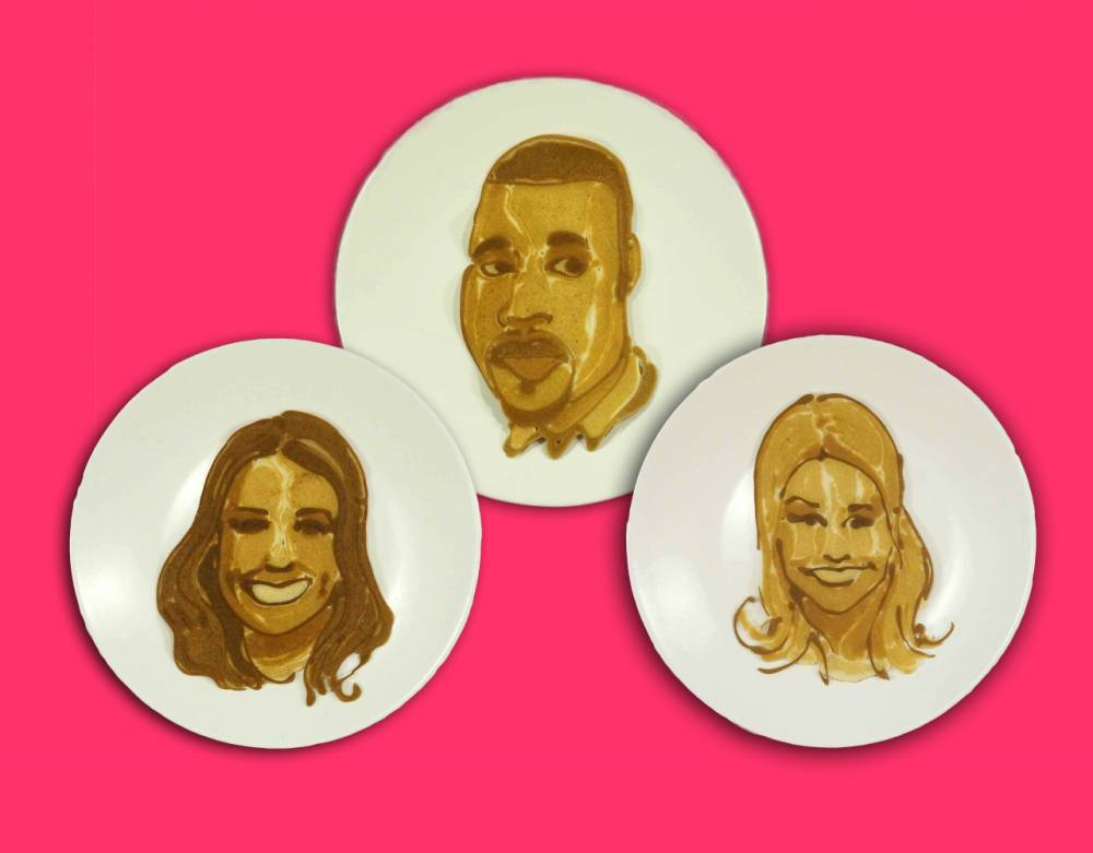 "MANDATORY CREDIT: Lyle's/Rex Features. Must mention Lyle's Golden Syrup  Mandatory Credit: Photo by Lyle's/REX (4434547b)  Kanye West  Celebrity pancakes - 16 Feb 2015  FULL COPY: http://www.rexfeatures.com/nanolink/pxvd  In celebration of Pancake Day (17th February), Lyle's Golden Syrup has partnered with talented pancake artist, Nathan Shields of Saipancakes to create ""pan-portraits"" of the celebrities who we Brits deem to be the smiliest."