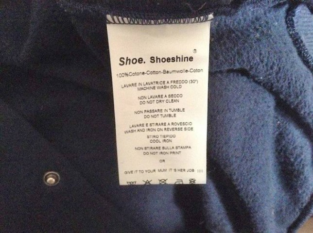 "Picture shows : Shoeshine clothing brand and the offensive label  A clothing company has been slammed for sexism after giving out clothing with washing instructions telling punters to get their mums to do it. Brunette MP Federica Mazzoni, who works at the equality commission in Emilia-Romagna in northern Italy was incensed when a friend bought a cardigan for her son from the Shoeshine clothing brand, and found the offensive label. Beneath a list of ordinary washing instructions including ""Machine wash cold"" and ""Do not dry clean"" the Democratic Party MP found the instruction: ""Or give it to your mum, itís her job."" Posting a photo of the label onto Facebook, Mazzoni wrote: ""Doing the washing is not the motherís job, fathers are also capable of turning a simple knob. ""Obviously it wasnít enough for the company to provide all the necessary useful information, it felt the need to have its say, by perpetuating a sexist message about mothers and women, which is also insulting for men and fathers."" ""It suggests women have no other skills than staying at home and that of turning a knob to 30. ""In a mirror image, it insults men as if they were not capable of doing a simple wash. ""Anyway, the cardigan is still in the wash basket."" She added that she had filed a complaint. Mazzoni was joined in her criticism by pal Erica Zambonelli who posted: ""If one did not see it, one would not believe it. Crazy"" But Lorenzo Genovesi posted: ""It could be morally harmful for kids. Although I wonder how many youngsters will look at the label, as they probably leave it to their mums."" The company has yet to comment."
