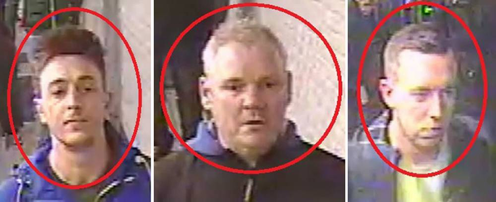 Undated handout CCTV images of three Chelsea football fans they believe were involved in an allegedly racist incident on a Paris Metro train. PRESS ASSOCIATION Photo. Issue date: Friday February 20, 2015. The Metropolitan Police are appealing for help to identify the trio, who they think were among a group of Chelsea supporters who pushed a black man off the train and chanted a racist song while on the way to a Champions League match against Paris Saint-Germain in the French capital on Tuesday. See PA story SPORT Racist. Photo credit should read: Metropolitan Police/PA Wire NOTE TO EDITORS: This handout photo may only be used in for editorial reporting purposes for the contemporaneous illustration of events, things or the people in the image or facts mentioned in the caption. Reuse of the picture may require further permission from the copyright holder.