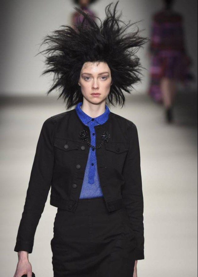 Mandatory Credit: Photo by PIXELFORMULA/SIPA/REX (4448465f)  Model on the catwalk  Sibling show, Autumn Winter 2015, London Fashion Week, Britain - 21 Feb 2015