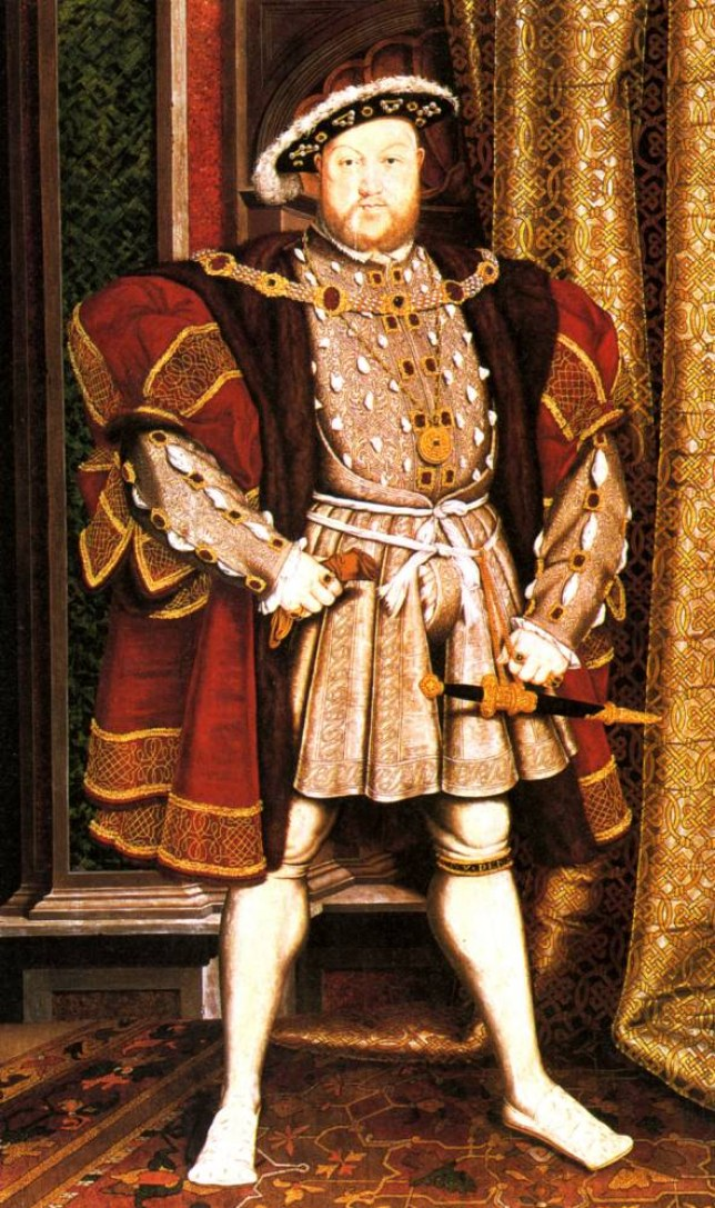 Henry VIII, a Victorian engraving based on Holbein's portrait of 1537.    BADRNY
