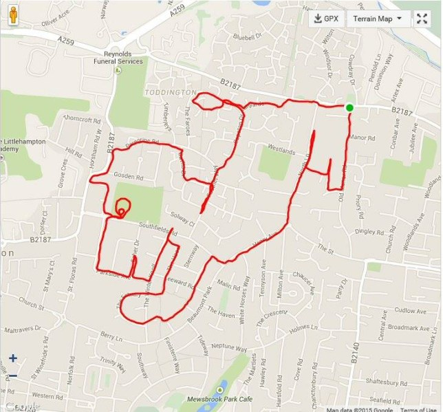 Puppy run.  A group of strangers found friendship and a way to make training for a half marathon more fun ñ by running routes that form the shapes of ANIMALS on maps. See SWNS story SWRACE. Runner Chris Robinson, 43, first jogged a shape of a cow, using a GPS tracker to map it on running app Strava and he posted it to his Facebook page.  He received positive feedback and three strangers joined his quest to make animal art and they have now used their GPS devices to draw dogs, a giraffe, a reindeer and even an elephant.  Father-of-two Chris, of Rustington, reckons running routes in the shape of animals could be a good way of encouraging others to get fit. 26 February 2015