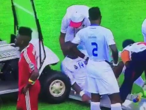 Watch moment dopey driver runs into DR Congo's Gabriel Zakuani during Africa Cup of Nations