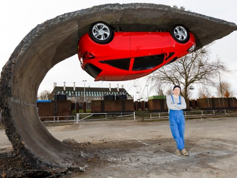 How artist Alex Chinneck hung a Vauxhall Corsa upside down on a wave of tarmac
