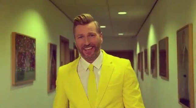 Robbie Savage dons a bright yellow suit in a new BT Sport advert