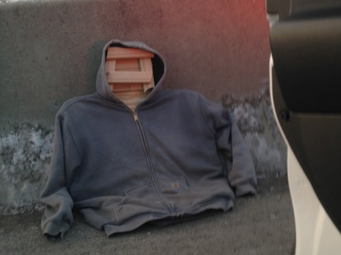 Man puts wooden dummy in his car in order to get to work on time