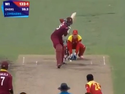 Watch Chris Gayle doing his thing as he batters Zimbabwe with historic double century at cricket World Cup