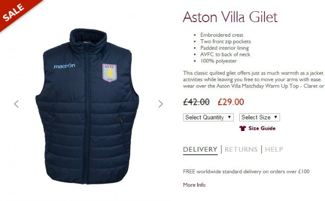 Claret And Banter >> Aston Villa News Aston Villa Slash Price Of Club Gilets