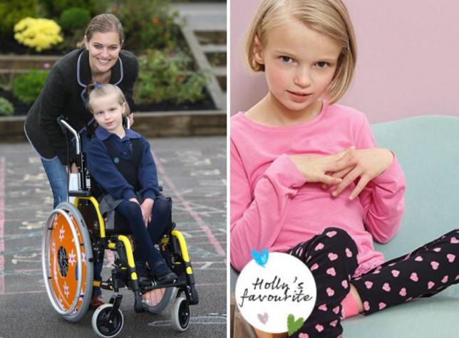 Brave Holly, who can't walk or speak, becomes new poster girl for Tesco's children's range