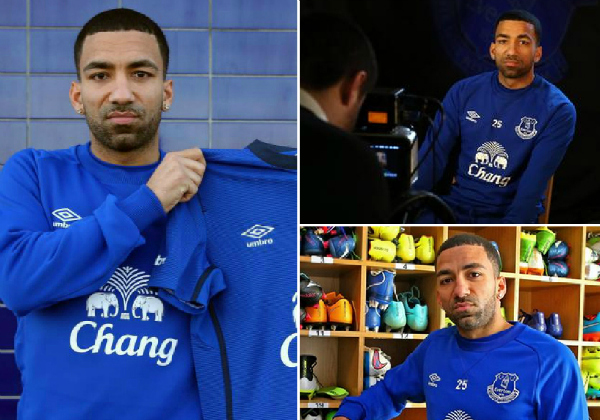 Aaron Lennon looks gutted in official photoshoot after completing Everton transfer from Tottenham