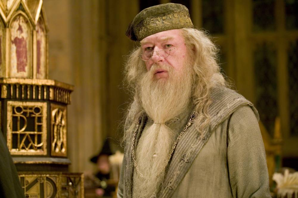 Film: Harry Potter and the Goblet of Fire. (2005) MICHAEL GAMBON as Headmaster Albus Dumbledore in Warner Bros. Pictures Harry Potter and the Goblet of Fire. PHOTOGRAPHS TO BE USED SOLELY FOR ADVERTISING, PROMOTION, PUBLICITY OR REVIEWS OF THIS SPECIFIC MOTION PICTURE AND TO REMAIN THE PROPERTY OF THE STUDIO. NOT FOR SALE OR REDISTRIBUTION ACTORS, FILMS