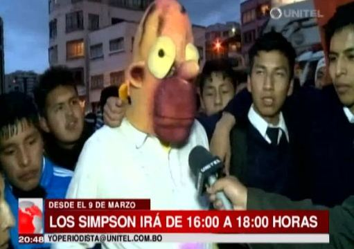 Ay caramba! Over 2,000 Bolivians fans protest the Simpsons time change