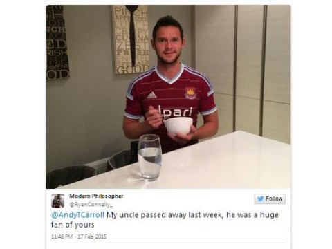 Andy Carroll confuses his own West Ham team-mate Matt Jarvis with Twitter follower's deceased relative