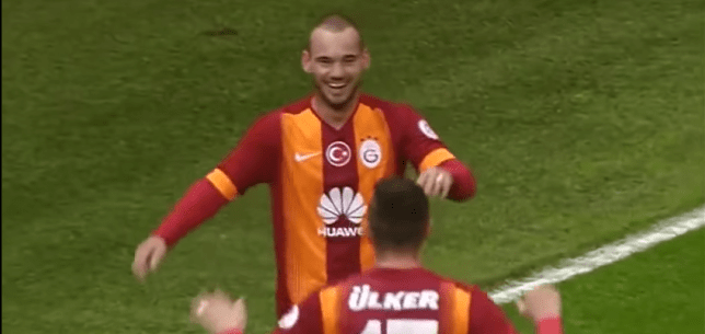 Sneijder scored two goals for Galatasaray (Picture: Youtube)