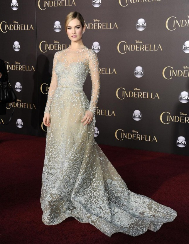 f05b129fbc Downton Abbey s Lily James transforms into real life princess for  spectacular Cinderella premiere