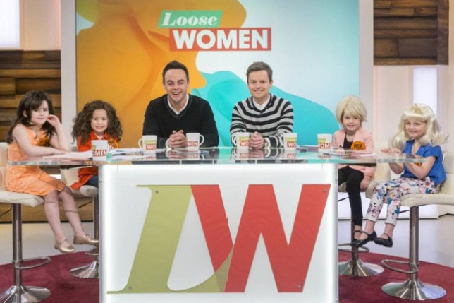 EDITORIAL USE ONLY NO MERCHANDISING Mandatory Credit: Photo by Steve Meddle/ITV/REX (4466473ao) Little Andrea McLean, Nadia Sawalha, Anthony McPartlin, Declan Donnelly, Sherrie Hewson and Jane Moore 'Loose Women' TV Programme, London, Britain. - 27 Feb 2015