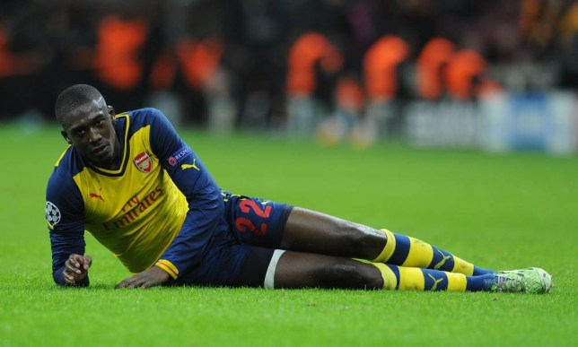 ISTANBUL, TURKEY - DECEMBER 09: Yaya Sanogo of Arsenal during the match between Galatasaray and Arsenal in the UEFA Champions League on December 9, 2014 in Istanbul, Turkey. (Photo by David Price/Arsenal FC via Getty Images)