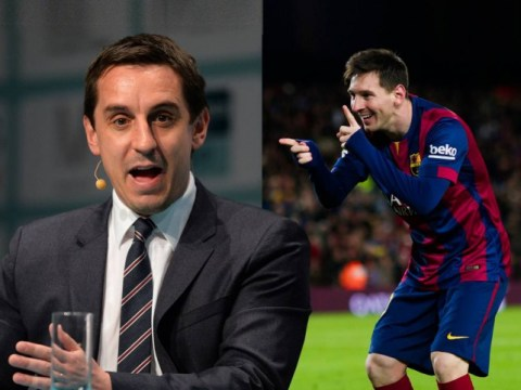 Gary Neville jokingly tells fan he'll try and convince Barcelona star Lionel Messi to sign for Manchester United