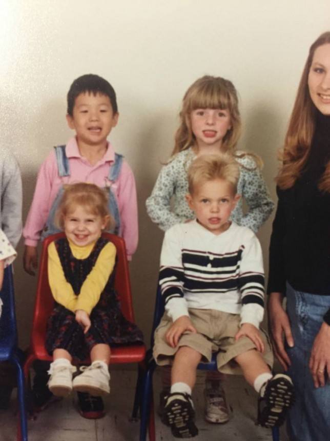 Imgur user evanaka1234  discovered he and his girlfriend attended pre school many years ago Credit: evanaka1234/Imgur