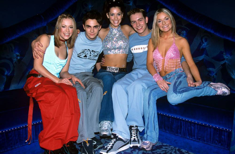Mandatory Credit: Photo by Julian Makey/REX (331700g)  Allstars - Rebecca Hunter, Samuel Bloom, Thaila Zucchi, Ashley Taylor Dawson, Sandi Lee Hughes  LAUNCH OF NEW CHILDREN'S TV SHOW 'STARSTREET', BRITAIN - JAN 2001