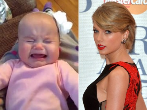Crying six month old baby really REALLY loves Taylor Swift…