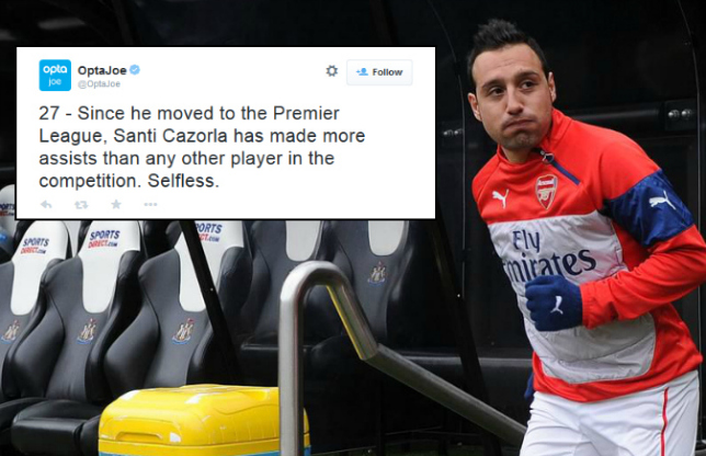 Arsenal's Santi Cazorla now has more assists than any other player since 2012 following Newcastle win