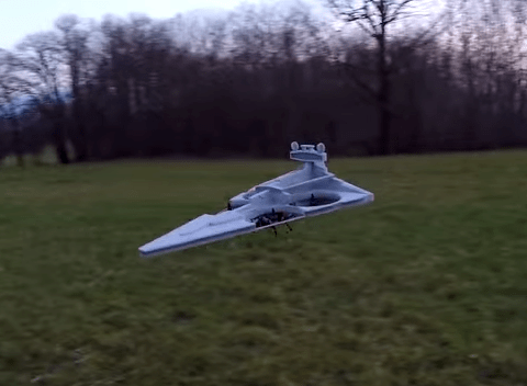Somebody turned a drone into a Star Wars Imperial Star Destroyer