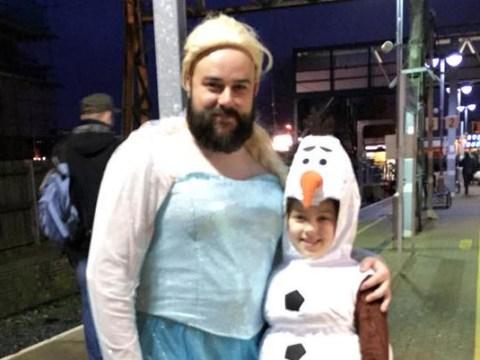 Frozen fan convinces dad to dress up like Princess Elsa for sing-along