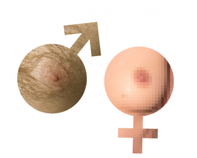 Female on male nipple
