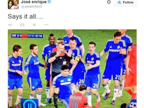 Liverpool defender Jose Enrique trolls Chelsea on Twitter for surrounding referee against PSG