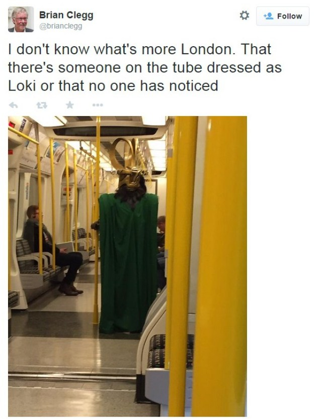 Man dressed as Loki on the tube