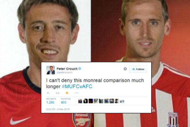 I can't hide it much longer! Stoke City's Peter Crouch finally accepts he looks like Arsenal's Nacho Monreal