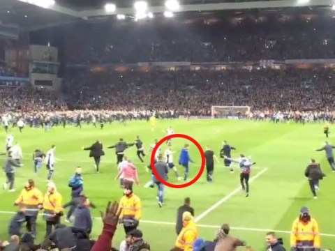 West Brom star James Morrison brutally trips pitch-invading Aston Villa fan, while Callum McManaman also gets in on the act