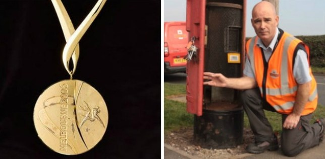 Express delivery: Postman Martyn Siviter stumbled across Sotherton's 2006 Commonwealth Games gold medal