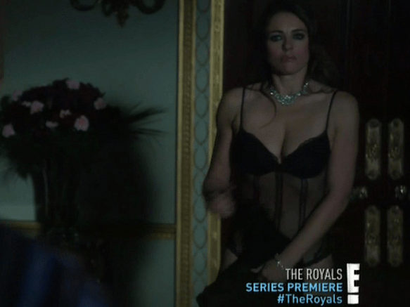 Elizabeth Hurley strips down to her underwear in premiere of new show The Royals