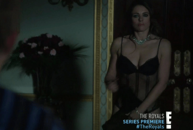 Elizabeth Hurley strips down to her underwear in The Royals (Picture: E! Entertainment/XPOSURE)