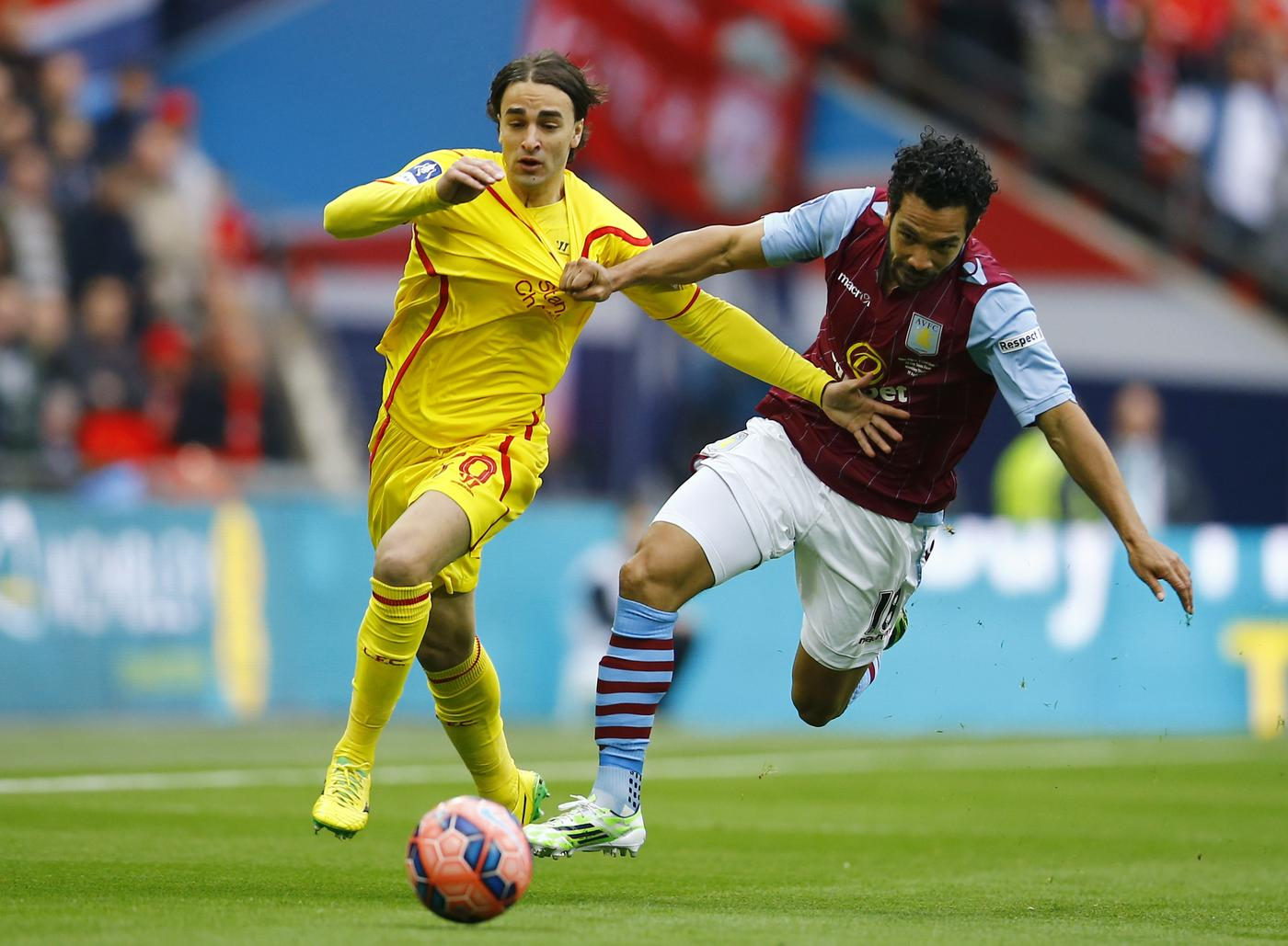 """Football - Aston Villa v Liverpool - FA Cup Semi Final - Wembley Stadium - 19/4/15 Liverpool's Lazar Markovic in action with Aston Villa's Kieran Richardson Reuters / Darren Staples Livepic EDITORIAL USE ONLY. No use with unauthorized audio, video, data, fixture lists, club/league logos or """"live"""" services. Online in-match use limited to 45 images, no video emulation. No use in betting, games or single club/league/player publications. Please contact your account representative for further details. Darren Staples/Reuters"""