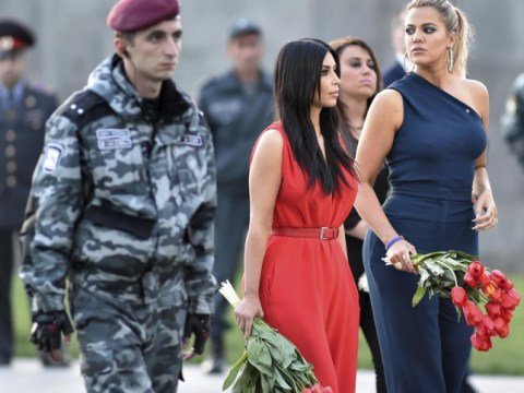 Kim and Khloe Kardashian wear sexy playsuits to visit Armenia Genocide Memorial