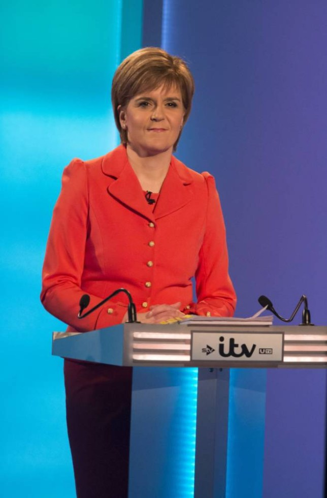 EDITORIAL USE ONLY NO USE AFTER SATURDAY MAY 2 MANDATORY CREDIT: PHOTO BY ITV/REX ITV handout photo of First Minister Nicola Sturgeon during the 7-way televised leadersí debate at the ITV studios in MediaCityUK in Salford. PRESS ASSOCIATION Photo. Issue date: Thursday April 2, 2015. See PA story ELECTION Main. Photo credit should read: Ken McKay/ITV/REX/PA Wire NOTE TO EDITORS: This handout photo may only be used in for editorial reporting purposes for the contemporaneous illustration of events, things or the people in the image or facts mentioned in the caption. Reuse of the picture may require further permission from the copyright holder.